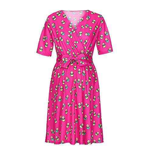 Women's V Neck Floral Print Short Sleeve Flare Baby Shower Maternity Dress with Bow Belf (S, Hot Pink)