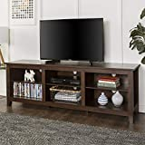 WE Furniture AZ70CSPTB Minimal Farmhouse Wood Stand for TV's up to 78' Living Room Storage, Traditional Brown