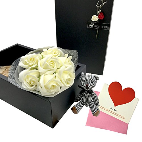 e Scented Bouquet Rose Flower Gift Box Include Plant Essential Oil Rose Soap Cards Action Figure Bear Great Gifts Idea For Her Women Teen Girls Mom Daughter (Milk-White) ()