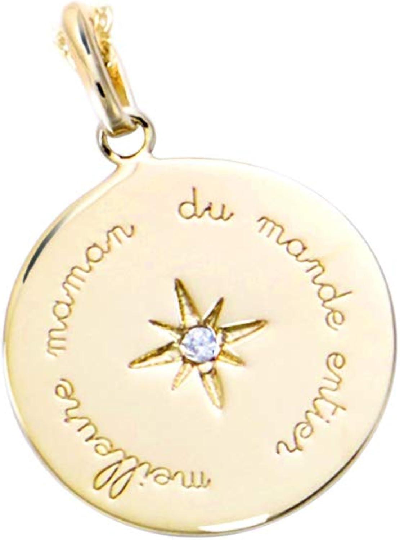 Constellation Zodiaque Tata Gis/èle /© Pendentif en Plaqu/é Or et Oxydes de Zirconium Sachet Cadeau Velours Offert