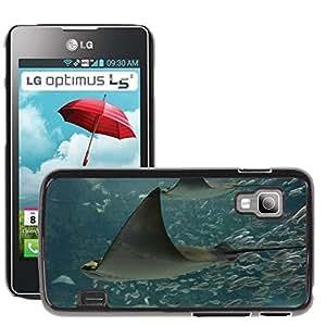 Etui Housse Coque de Protection Cover Rigide pour // M00133445 Manta Animales Océano agua Naturaleza // LG Optimus L5 II Dual E455 / E460