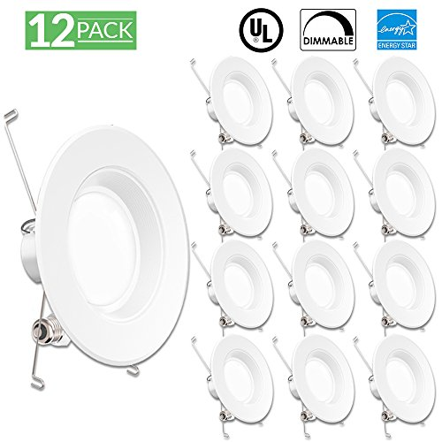 Sunco Lighting 12 Pack 5/6 Inch Baffle Recessed Retrofit Kit Dimmable LED Light, 13W (75W Replacement), 4000K Kelvin Cool White, Quick/Easy Can Install, 960 Lumen, Damp Rated