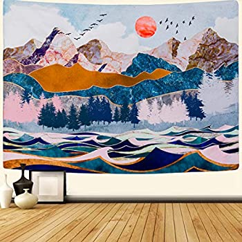 SENYYI Mountain and Sunset Tapestry Forest Trees Wall Tapestry Wave Art Tapestry Nature Landscape Tapestry for Room (51.2 x 59.1 inches)