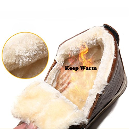 Invernali Gli Stivali Uomini Neve Marroni Toamen Peluche Moda Per Caldo fw5qISdI
