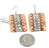 RARE $380 Retail Tag Handmade Authentic Bear Made by Robert Little Navajo Handstamped Pure Silver Copper Dangle Native American Earrings