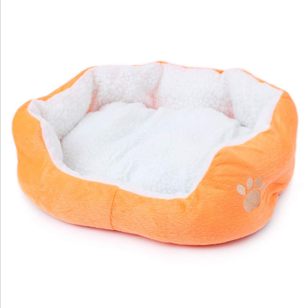 Pet Mat Autumn and Winter Warm Removable Washable Cotton Kennel for Cats and Dogs Cotton,orange