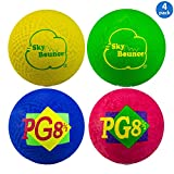 Sky Bounce Playground Ball (4 Pack) 8.5'' Circumference Rubber Ball - Perfect for Dodgeball (Dodge Ball) and Kickball (Kick Ball) Games