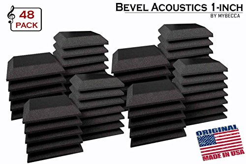 Mybecca [48 PACK] Acoustic Foam BEVEL Tiles Soundproofing Wall Panel 12 x 12 x 1 inch, Made in USA