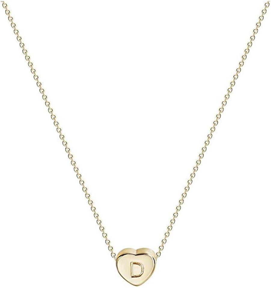 50cm Cha/îne Finebo Collier Initiale Prenom Forme de Coeur Pendentif Lettre Collier Alphabet pour Femme Homme N Cadeau Anniversaire Mariage- Acier INOX- Couleur Or