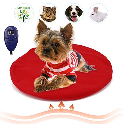 Heating Pads for Pets, Electric Heating Pad for Dogs &Cats Warming Dog Beds Pet Mat Pressure Activated with Chew Resistant Cord Soft Removable Cover (Red) by IB SOUND