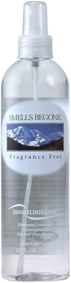 SMELLS BEGONE Air Freshener Spray - Odor Eliminator - Eliminates Odors from Smoke, Trash Cans, Pets, Cars and Boats - Non-Toxic and Non-Staining - Fragrance Free (12 Ounce)