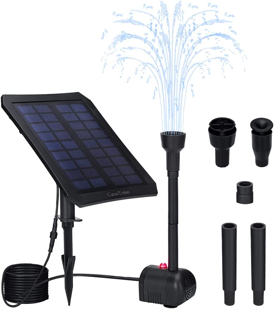 Solar Fountain Pump with Panel, CasaTimo Bird Bath Fountain Solar Powered with Battery Backup, 3 Operating Modes with Colorful LED for Outdoor Pond Patio Garden Pool Fish Tank, Night Work
