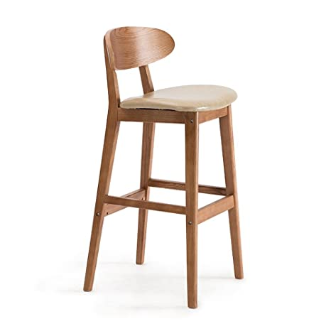 Amazon.com: NYDZ Solid Wood bar Chairs, Creative bar stools ...
