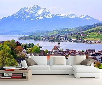 Yosot Benutzerdefinierte Große Wandmalereien, Schweiz Häuser See ...