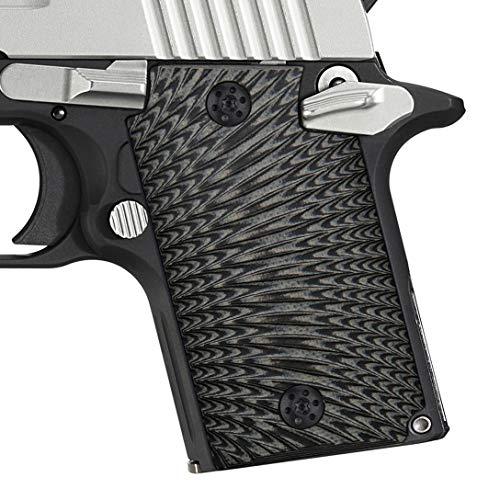 EXEL Cool Hand G10 Grips for Sig Sauer P938, Sunburst Texture, Grey/Black (Sig P938 Grips)