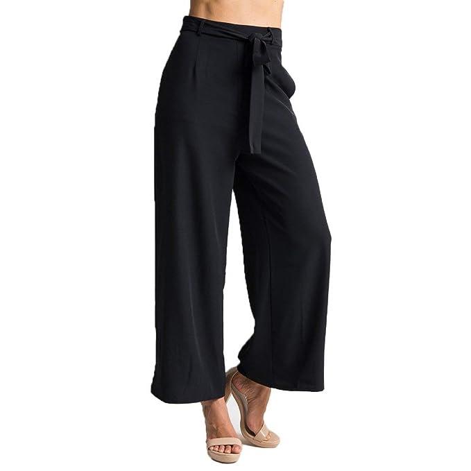 Y Ropa Pantalones Accesorios Palazzo Trousers Largos Negro Retro Casuales Cintura Moda es Amazon Anchos Mujer Alta Señora Pants 4p1qaFHq