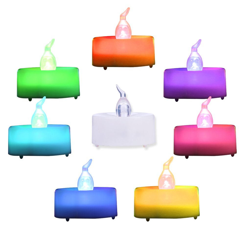 Beichi 24 Pack Color Changing LED Tea Lights, Flameless Tealight Candles with Rainbow Colors, Battery Operated Colored Fake Candles for Weeding, Party and Christmas, No Flickering Light