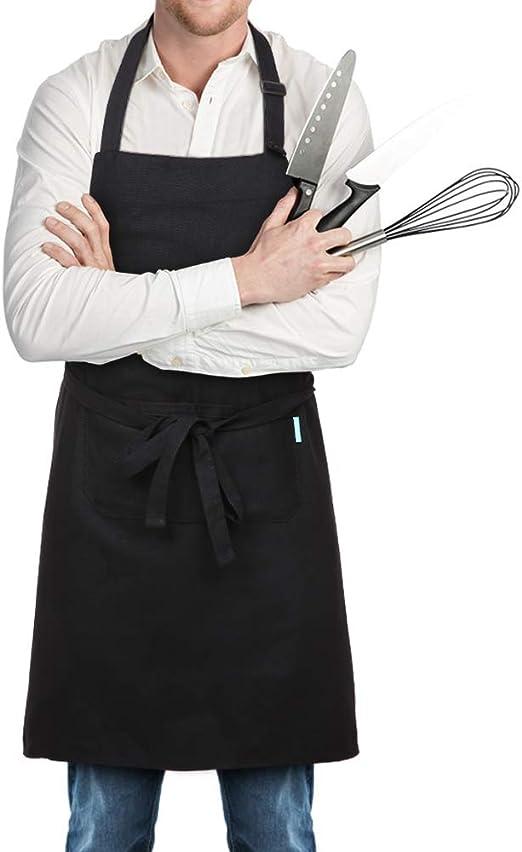 esonmus Delantal de Cocina de Poliéster con Tira de Cuello ...