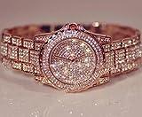 Huntmic Luxury Crystal Diamond Women Watch Fashion Full Rhinestone Lady Wristwatches - Rose Gold