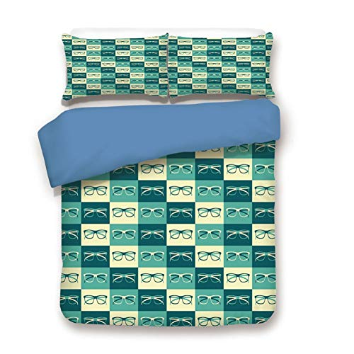 Duvet Cover Set Twin Size, Decorative 3 Piece Bedding Set with 2 Pillow Shams,Pattern with Eyeglasses in Vintage Style Hipster Cool Collection Decorative