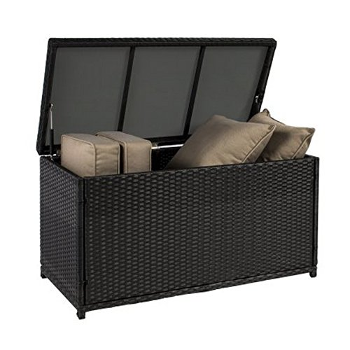Wicker Deck Storage Box Weather-Proof Outdoor Patio Furniture Durable Sun-Resistant Black by Rattan Boxes (Image #1)
