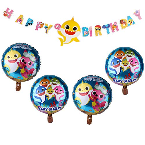 Shark Baby Balloons Party Supplies 7 Pcs Large Helium Balloons Set for Kids Birthday Shark Theme Party Baby Shower Event Decorations (7Pcs Balloons) (7 Pcs Balloons) (1 Banner+4 Balloons)