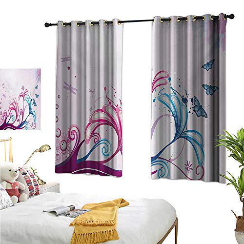 Warm Family Curtain Set Nature,Curved Giant Flower Bodies and Butterflies Flying Spring Style Artsy Design,Lilac Pink Sky Blue 54