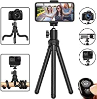 Phone Tripod, Flexible Cell Phone Tripod Adjustable Camera Stand Holder with Wireless Remote and Universal Clip 360...
