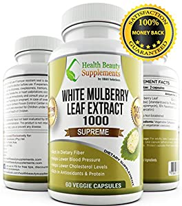 White Mulberry 1000 Supreme,100% Natural, organic formula. Natural blood sugar support supplement, 60 Veggie Capsules