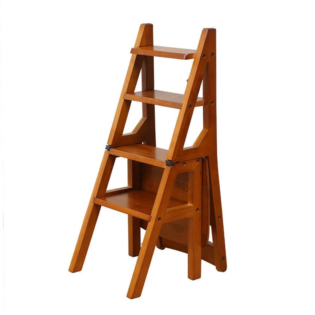 YZQ@DZ Trittschemel Für Erwachsene Faltbare Massivholz Leiter Stuhl Hocker Multifunktionale Regalleiter 4 Stufen 150Kg Kapazität / K2 / K2