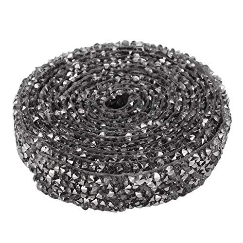 KEYREN 5 Yard Crystal Mesh Chain Banding Iron-On Applique Wedding Dress Shoes Trim Sewing Craft Waist Dress Embellishments(灰色) ()