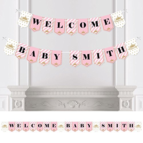 Big Dot of Happiness Custom Little Princess Crown - Personalized Pink and Gold Princess Baby Shower Bunting Banner & Decorations - Welcome Baby Custom Name Banner