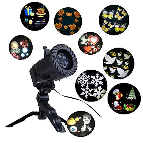 Holiday Celebration Home Decorative Animated Film LED Projector Light, New Year Christmas Halloween Thanksgiving Wedding Birthday Party Outdoor Garden Decoration projection Lamp with 15 Slides (black)]()