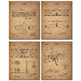 vintage aviation decor - Wright Brothers Patent Prints - Set of Four Vintage Wall Art Photos - Flying Machine Invention by Orville and Wilbur