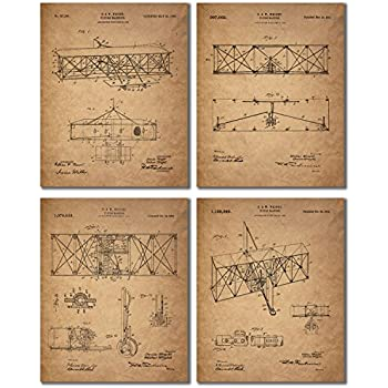 Wright Brothers Patent Prints - Set of Four Vintage Wall Art Photos - Flying Machine Invention by Orville and Wilbur