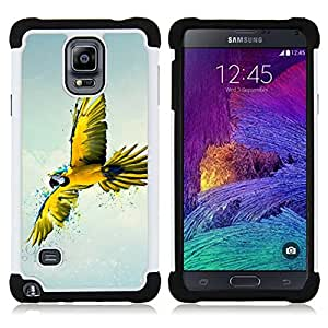 For Samsung Galaxy Note 4 SM-N910 N910 - Parrot Yellow Blue Colorful Flying Bird Nature /[Hybrid 3 en 1 Impacto resistente a prueba de golpes de protecci????n] de silicona y pl????stico Def/ - Super Marl