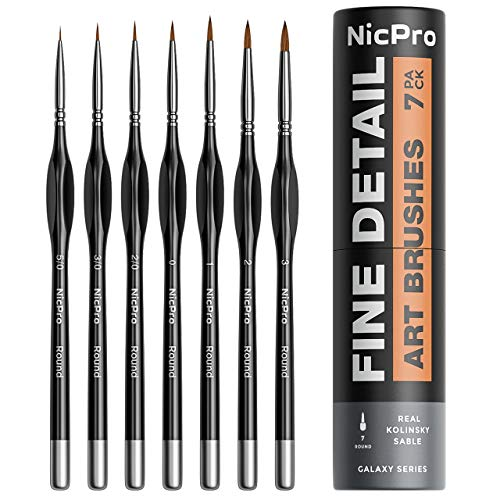 Nicpro 7 PCS Kolinsky Sable Detail Paint Brush Set Series 7,Professional Round Tip Detail Painting Kit Miniature Art Brushes Watercolor Oil Acrylic Gouache Craft Models Rock Paint by Number