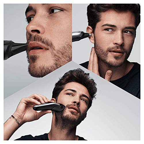 Braun Mgk7020 10 En 1 Maquina Recortadora Barba Y Cortapelos Todo En Uno Con Afeitadora Cuerpo Nariz Y Orejas Afeitadora Mini Detalles Color Negroplata