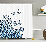 Ambesonne Butterflies Decoration Collection, Butterflies Bottom Left Corner Flying Tropical Vibrant Color Monarch Wings Image, Polyester Fabric Bathroom Shower Curtain Set with Hooks, Blue Black