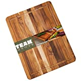 Teak Cutting Board - 16x12' Wooden Edge Grain Carving Board with Juice Canal - Large Wood Kitchen Chopping Board (Оne Расk)