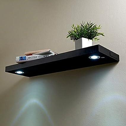 Estantería flotante con luces LED recargables, estantes modernos de madera con iluminación , negro