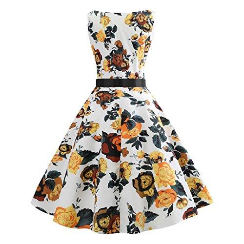 Taille Robe Hepburn Blanc Floral Femmes Haute Plisse ESAILQ Manches sans Vintage Swing wFSUqng7x