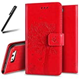 iPhone 4S Stand Case,iPhone 4 Wallet Case,iPhone 4S Flip Case,iPhone 4 PU Case Girl,SKYMARS Tree Cat Butterfly Embossed PU Leather Flip Kickstand Cards Slot Wallet Magnetic Closure Protection Book Style Case for iPhone 4 / 4S Tree