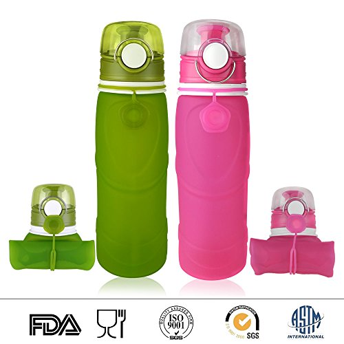 Victanz Collapsible Water Bottle - Silicone Leak Proof Valve - Medical Grade - BPA Free, 26 Ounces 750ml, Set of 2 Pack Green and (750 Ml Gift Set)
