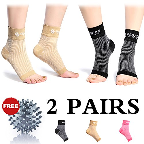Plantar Fasciitis Socks with Arch Support – 2 Pairs Foot Care Compression Sleeves + 1 Free Massage Ball – Great for Fast Pain Relief, Ankle Support & Heel Spurs (Black (Select Massage Ball)