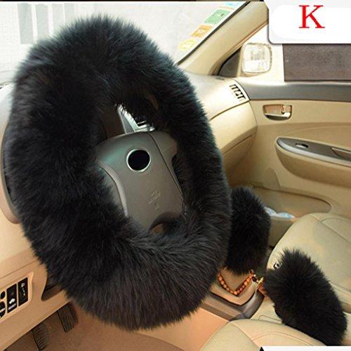 Amiley Plush Warm Steering Wheel Cover Woolen Handbrake Car Accessory Auto Fur 1 Set 3 Pcs (K)