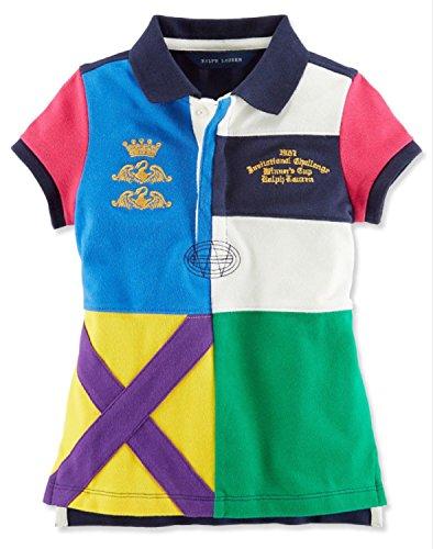 Ralph Lauren Girls Colorblock Cross Mark Rugby Polo Shirt Top (6)