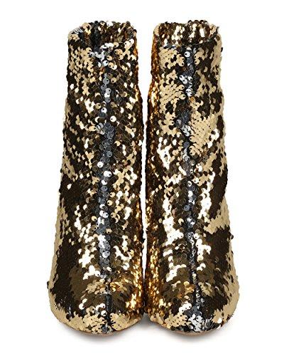 Alrisco Kvinnor Reversibel Paljett Känga - Mandel Tå Stilett Bootie - Semester Speciellt Tillfälle Parti Trendig Dressat Fotled Bootie - He32 Av Vilda Diva Samling Guld