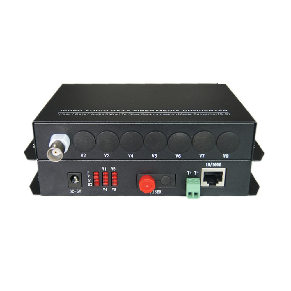 Guantai Video/Ethernet Fiber Optic Optical Media Converters -1 Channel Video extender with 10/100Mbps Ethernet RJ45 and RS485 Data - Working distance 20Km