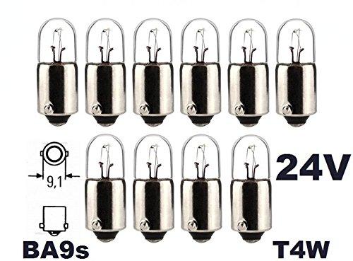 Soffitte Gl/ühbirne 24 Volt INION/® Lampen 10 St/ück T 4W Nfz LKW Beleuchtung Gl/ühlampe 4Watt BA9s Mit E-Pr/üfzeichen und ist f/ür den Stra/ßenverkehr zugelassen